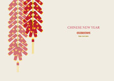 Red firecrackers on Chinese New Year Card,Vector illustrations Stock Photos