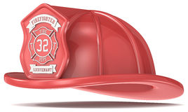 Red Firefighter Helmet. Firefighter Helmet. Classic Red with badge. Isolated Stock Image