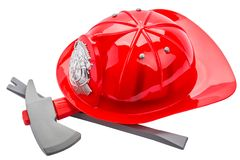 Red fireman helmet, isolated on white background stock photography