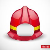 Red fireman helmet vector illustration. Red firefighter helmet vector illustration. Space for badge or emblem. Isolated and editable Stock Image