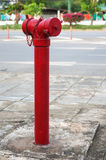Red fireplug standing alone on footpath Royalty Free Stock Images