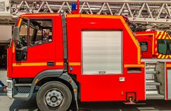 Red Firetruck on Duty Stock Photo