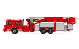 Red Firetruck left profile view. Isolated on a white background Royalty Free Stock Photography