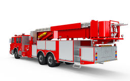 Red Firetruck perspective back view. Isolated on a white background Royalty Free Stock Photography