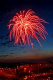 Red firework. In the city Royalty Free Stock Photos