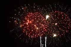 Red firework explode in sky. Firework explode in sky in pars royalty free stock photo