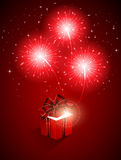 Red firework and gift box. Red shiny fireworks and gift box, illustration Royalty Free Stock Image