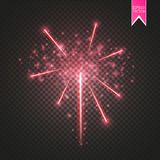 Red Firework lights effect with glowing stars in sky  on transparent background. Vector white festive party. Rocket burst or salute show for your design. eps 10 Stock Photos