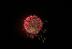 Red firework in the night stock images