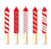 Red Firework Rockets. Red striped firework rockets on white background Stock Photos