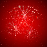 Red firework. Red starry background with shiny fireworks, illustration Royalty Free Stock Photo