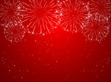 Red firework. Stars and shiny fireworks on red background, illustration Royalty Free Stock Photography