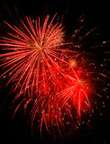 Red Fireworks. Multiple fireworks in shades of red stock photography