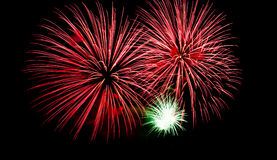 Red fireworks on the black sky Royalty Free Stock Images