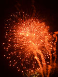 Red fireworks burst with smoke trail Royalty Free Stock Photography