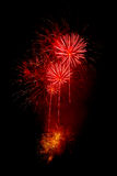 Red fireworks. Colorful fireworks isolated on black background. New years eve celebration Stock Photo