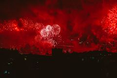 Red Fireworks Display Stock Images