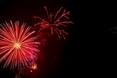 Red fireworks display Royalty Free Stock Photo