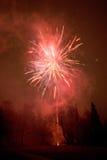 Red fireworks exploding Stock Image