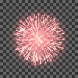 Red Fireworks. Festival beautiful firework. Vector llustration on transparent background.  royalty free illustration