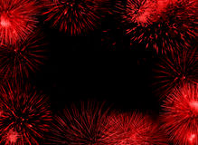 Red fireworks frame Royalty Free Stock Images