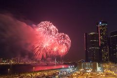 Freedom Festival Fireworks light up the skies in front of the GM Renaissance Center in Detroit, Michigan stock photos