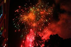 Red fireworks in Merida, Mexico stock image