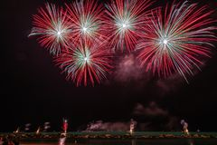 Red Fireworks Near Body of Water