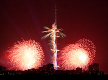 Red fireworks near Ostankinskaya TV Tower, Moscow Royalty Free Stock Photos
