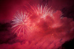 Red fireworks on the night sky Royalty Free Stock Photography