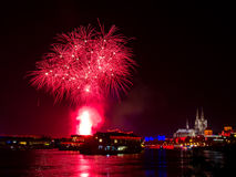 Red fireworks over Cologne Stock Images