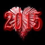 2015, red fireworks. In the shape of a heart Royalty Free Stock Photography
