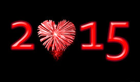 2015, red fireworks. In the shape of a heart Stock Image