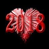 2018, red fireworks in the shape of a heart. 2018 greeting card, red fireworks in the shape of a heart Royalty Free Stock Image