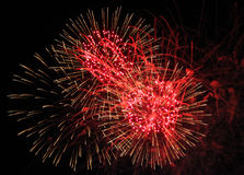 Red Fireworks Trio Royalty Free Stock Image
