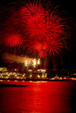 Red Fireworks Vancouver Harbor British Columbia Royalty Free Stock Photos