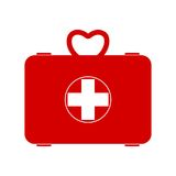 Red First aid box icon. First aid box icon, simple vector icon Royalty Free Stock Photo