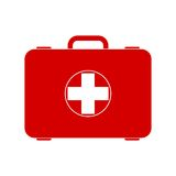 Red first aid box. Vector icon Stock Images