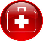 Red first aid button. Illustration of a red first aid button Royalty Free Stock Image