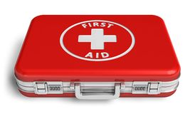 Red first aid case. Isolated on white background Royalty Free Stock Photography