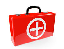 Red First aid case. On a white background Stock Photography