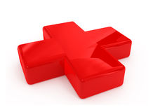 Red first aid cross sign. Isolated on white background Royalty Free Stock Photos