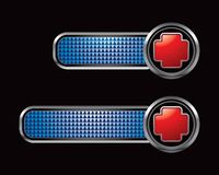 Red first aid icon on blue checkered tabs Royalty Free Stock Images