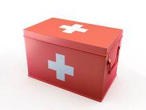 Red first aid kit 3D illustration. Red first aid kit on white background 3D illustration Royalty Free Stock Photos