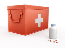 Red first aid kit and bottle of pills. On white background 3D illustration Royalty Free Stock Photography