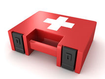 Red first aid kit box on white background. 3d Royalty Free Stock Photos