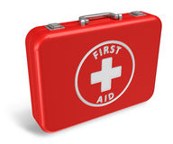 Red first aid kit case. Isolated on white background Stock Image