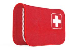 Red First Aid Kit Soft Bag with White Cross. 3d Rendering. Red First Aid Kit Soft Bag with White Cross on a white background. 3d Rendering Stock Images
