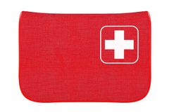 Red First Aid Kit Soft Bag with White Cross. 3d Rendering. Red First Aid Kit Soft Bag with White Cross on a white background. 3d Rendering Royalty Free Stock Photos