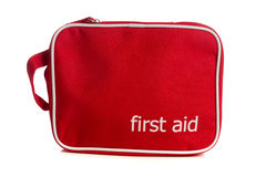 Red first aid kit on white Royalty Free Stock Photo